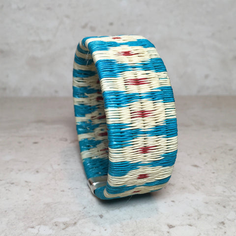 Woven Cuff Bracelet - Blue Diamonds - Unique Handmade Gift
