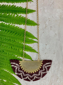 Gold and wine red necklace ethical sustainable handmade in Colombia fair trade