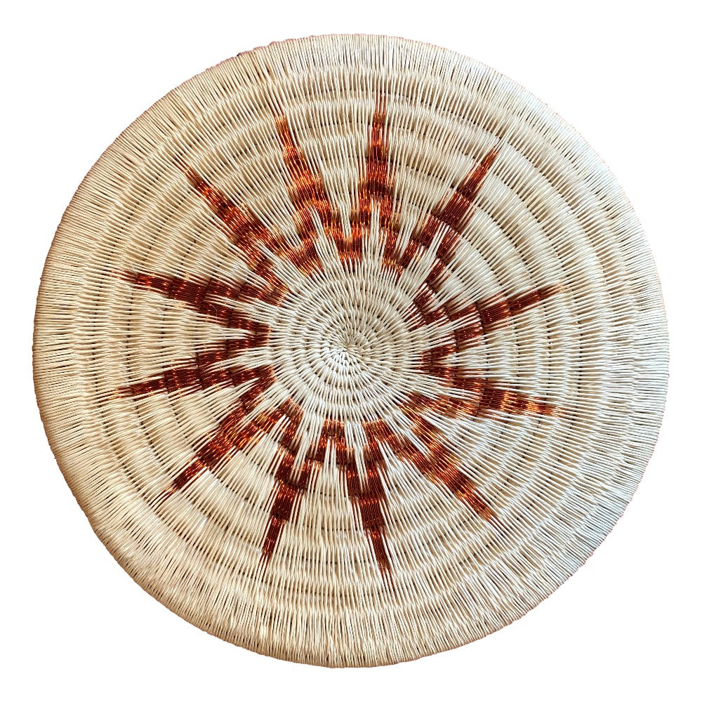 Indigenous Wounaan Art Plate from Colombia. Handmade & Fair Trade. Beige & Copper. Chunga Palm basket