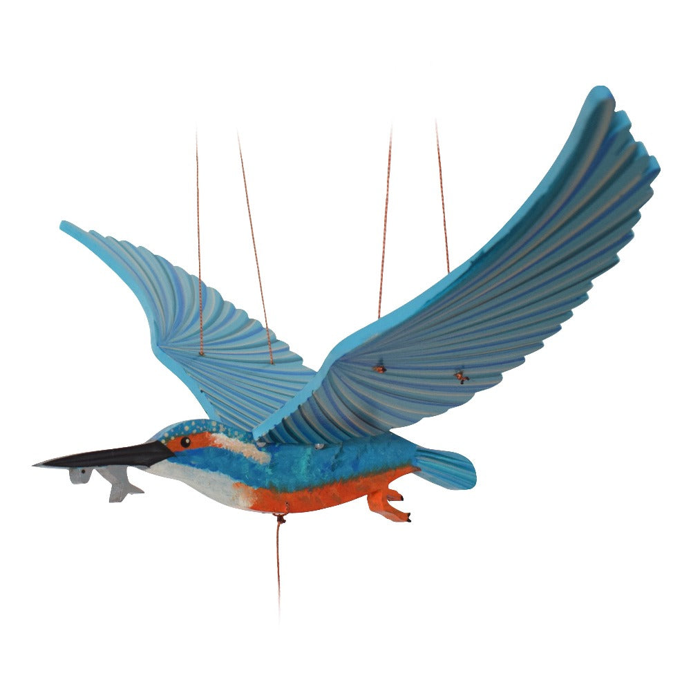 Kingfisher bird flying mobile. Ethical Home Decor. Handmade & Hand painted in Colombia.