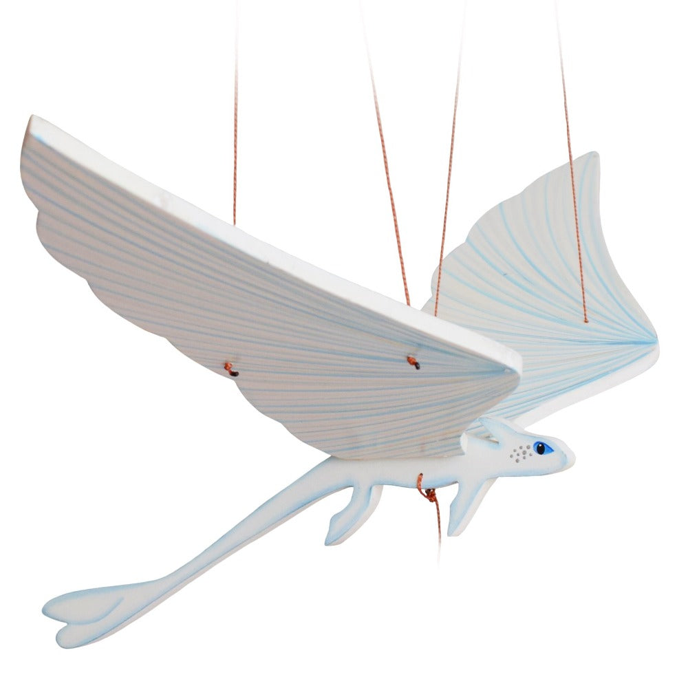 Light Fury Dragon flying mobile. Ethical Home Decor. Handmade & Hand painted in Colombia.