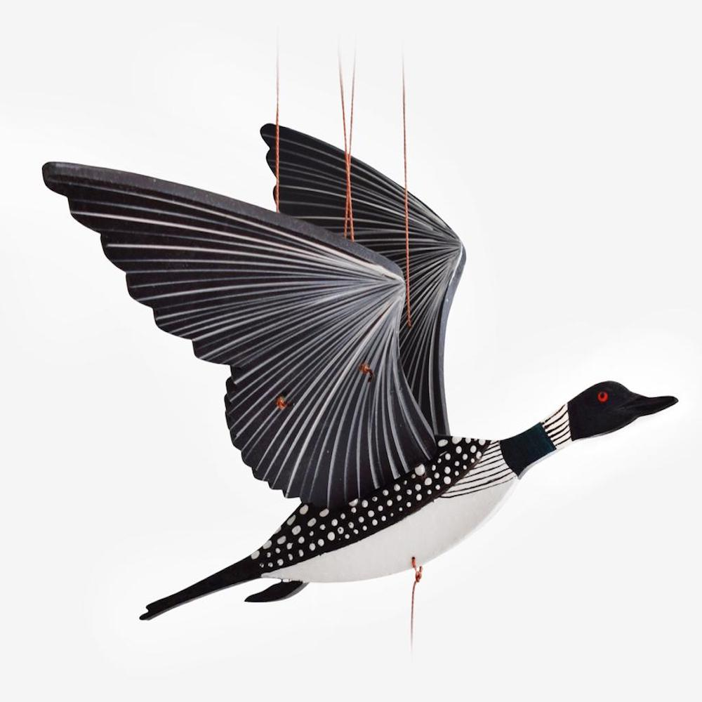 Loon flying mobile. Ethical Home Decor for men.  Handmade & Hand-painted in Colombia