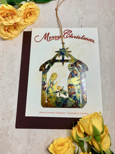 Manger Nativity Ornament Christmas notecard Handmade Colombia