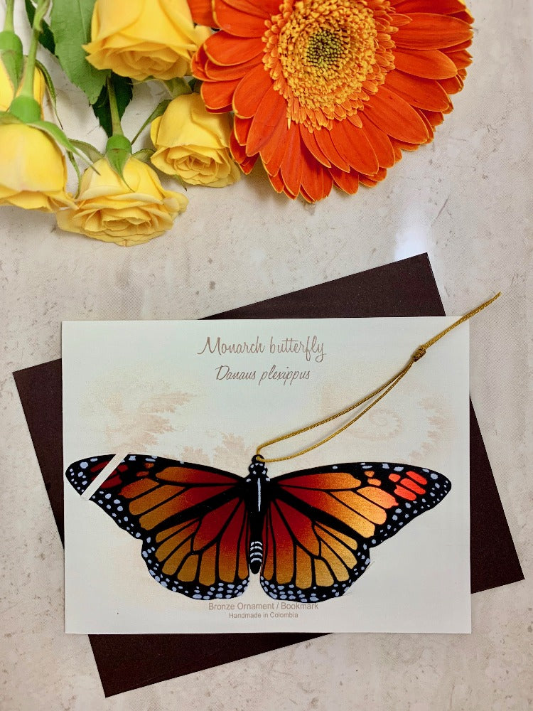 Monarch Butterfly Ornament bronze wholesale  handmade artisan made home decor Notecard Thank you get well sympathy birthday garden