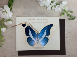 Helena Blue Morpho Butterfly Ornament Notecard ethical gift Thank you Sympathy Get Well Birthday