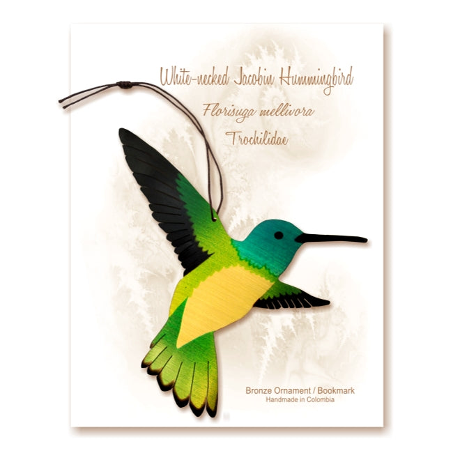 Hummingbird Ornament Bookmark Handmade Bird Bronze Thank you Sympathy get well gardener birthday notecard