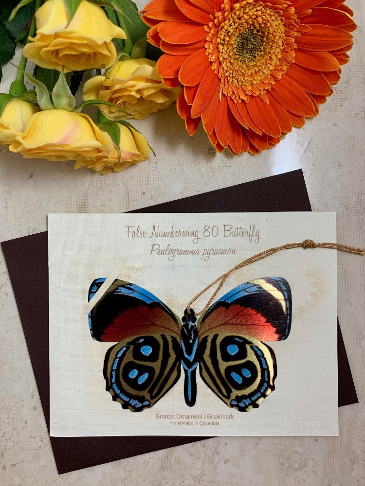 Numberwing Butterfly Ornament Handmade Bronze home decor notecard thank you sympathy birthday christmas getwell gift
