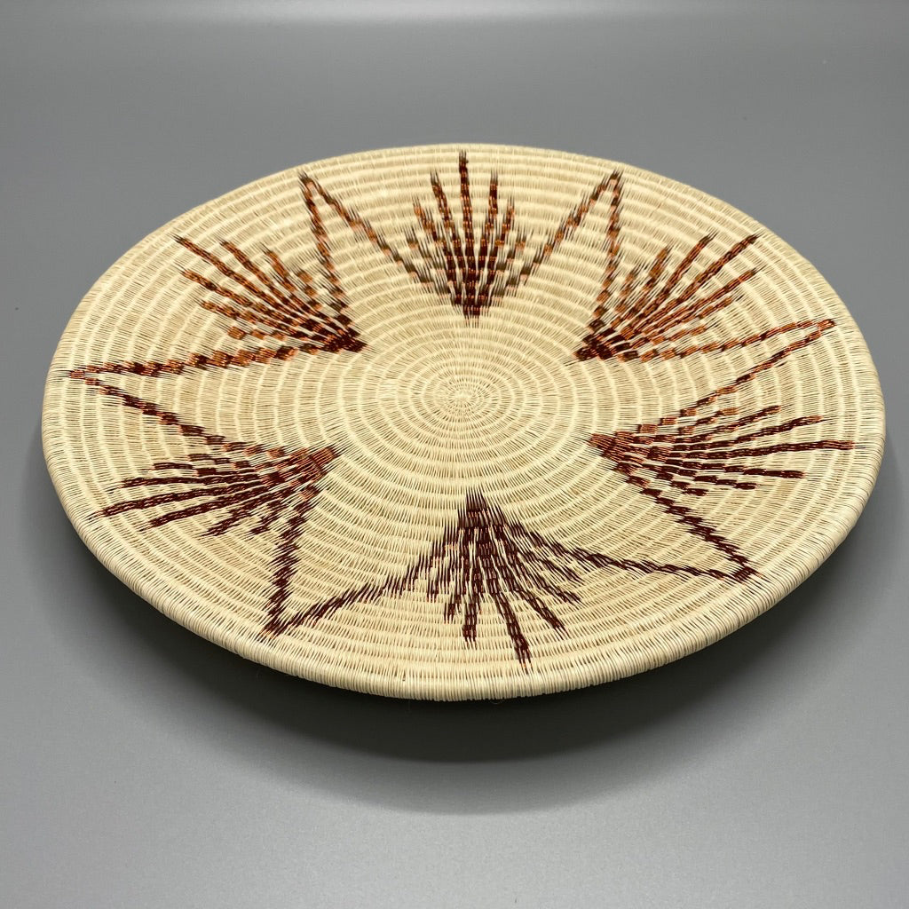 Indigenous Wounaan Art Plate bowl from Colombia. Handmade & Fair Trade. Beige & Copper Wire. Chunga Palm basket