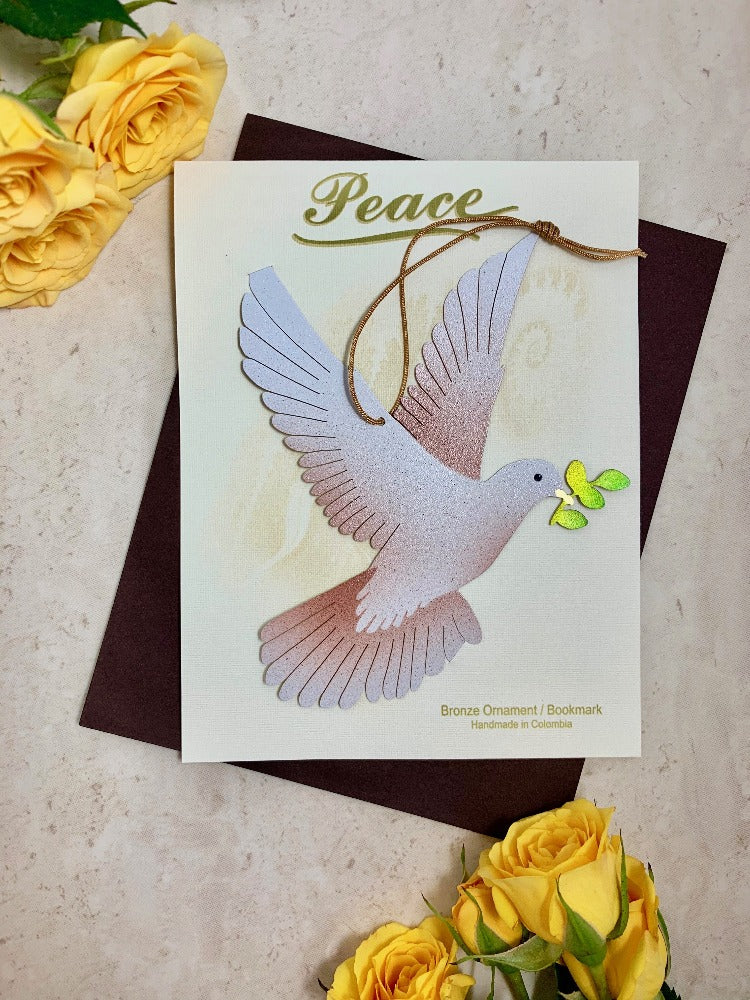 peace dove ornament christmas home decor blank notecard gift