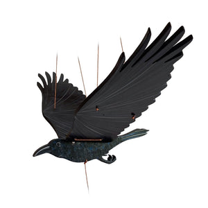 Raven Crow BlackBird Flying Mobile. Ethical Home Decor. Handmade & Handpainted in Colombia