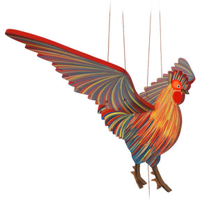 Rooster Chicken Flying Mobile. Handpainted, handmade in Colombia. Ethical home decor. Farm, barn, rooster theme.
