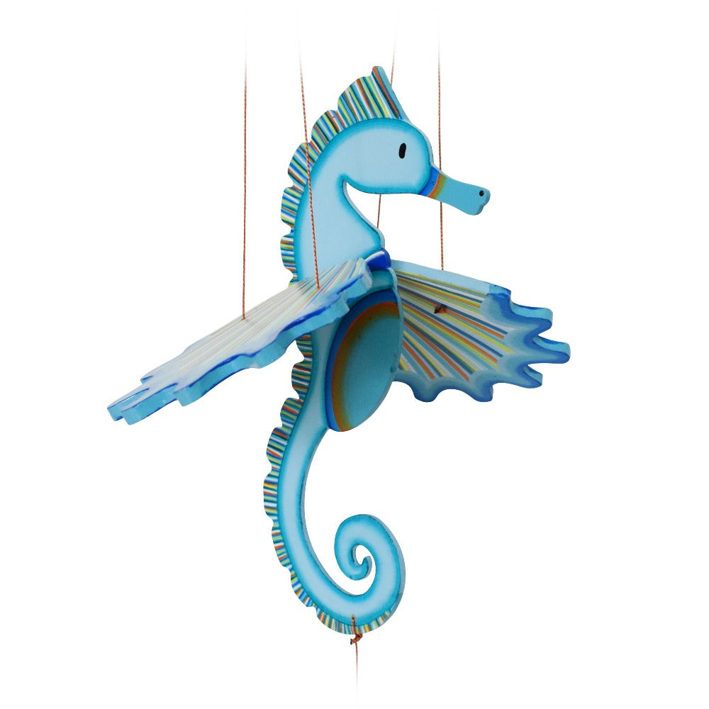 Seahorse flying mobile.  Seacreatures. Ethical Home Decor. Handmade & Hand painted in Colombia.