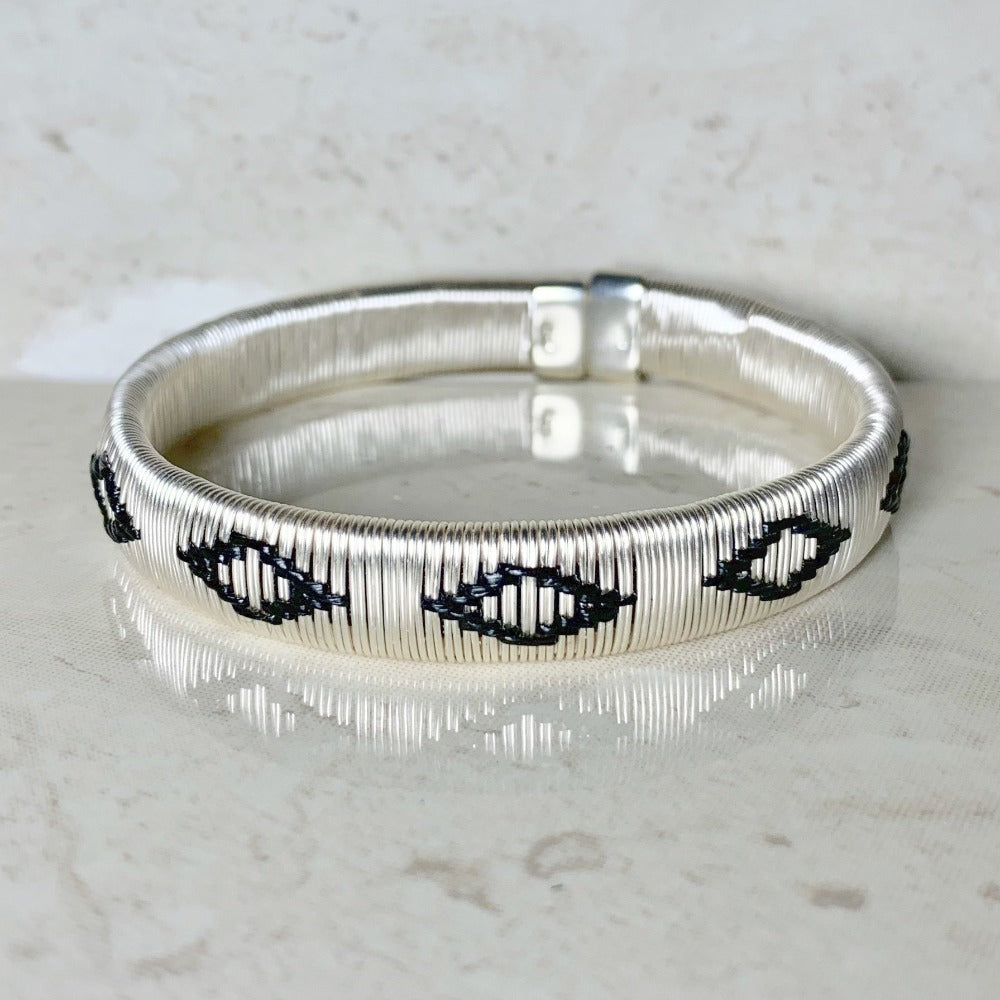 Silver Black ethically made bracelet bangle colombia jewelry elegant formal casual luxury