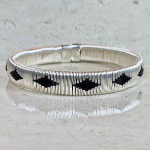 Silver Black ethically made bracelet bangle colombia jewelry elegant formal casual luxury capsule wardrobe