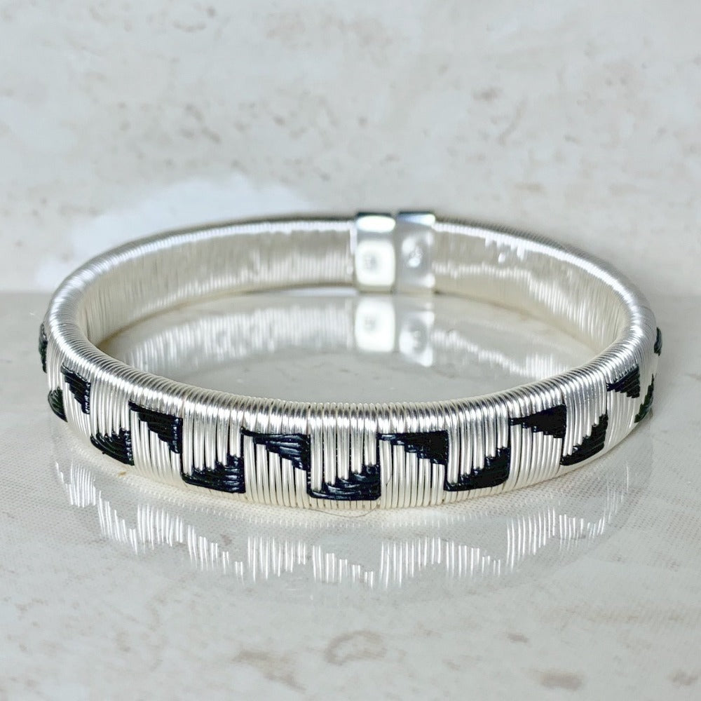 Silver Black ethically made bracelet bangle colombia jewelry elegant formal