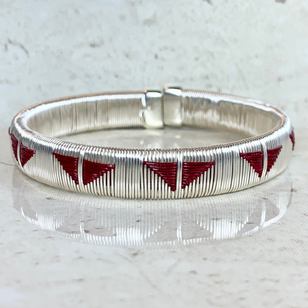 Silver wine red ethically made bracelet bangle colombia jewelry elegant formal luxury butterfly