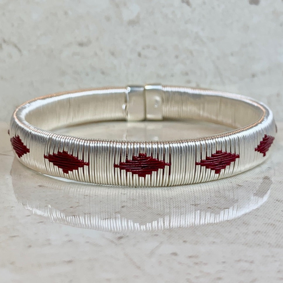 Silver wine red ethically made bracelet bangle colombia jewelry elegant formal luxury island sophisticated capsule wardrobe
