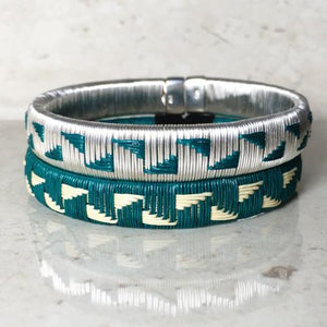 Silver & Teal Bangle Bracelet - Choose your design