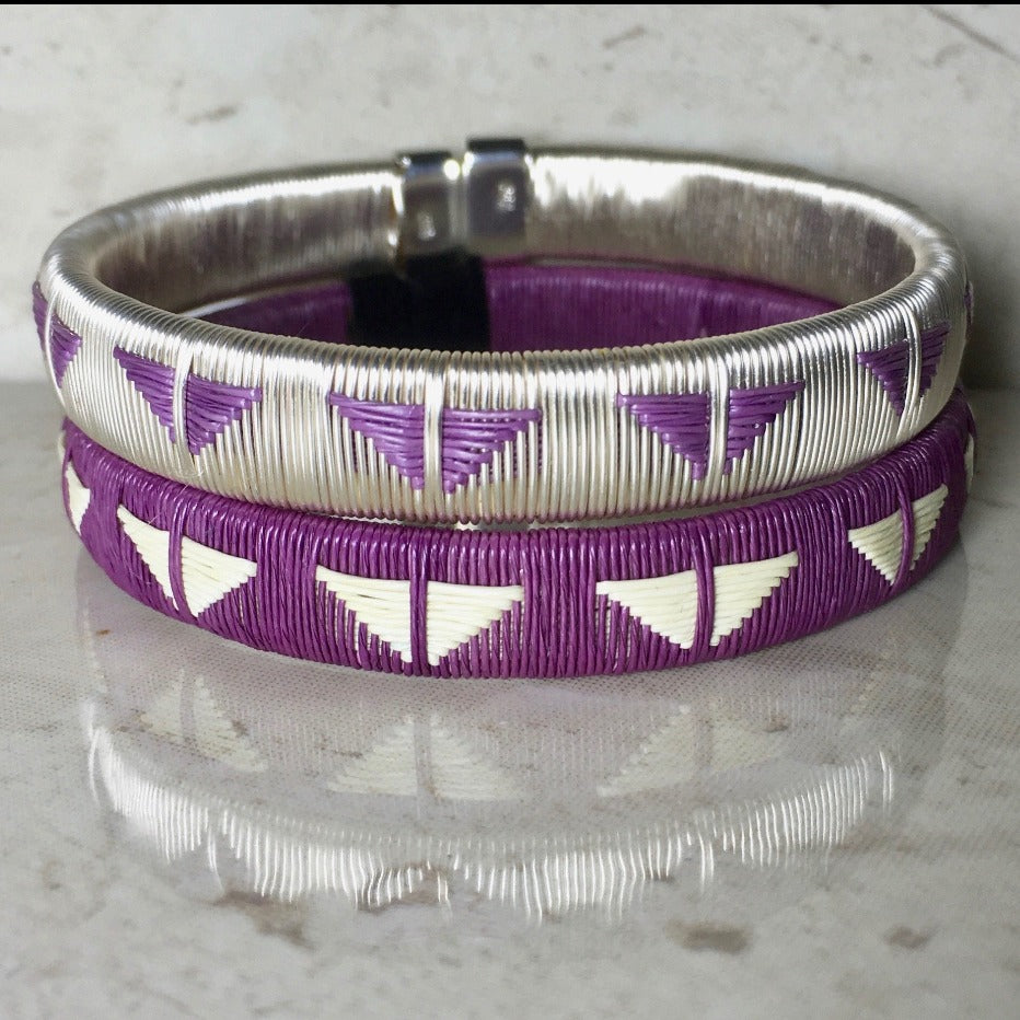 Silver Purple bangle set bracelet colombia wounaan butterfly ethical sustainable jewelry fashionista casual luxury elegant