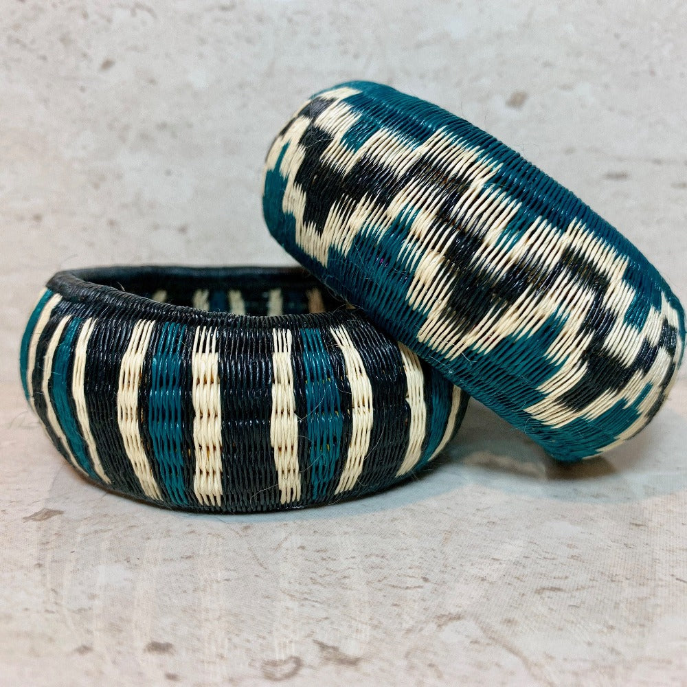 Woven Bangle Bracelet - Basket Weave - Teal - Unique Handmade Gift