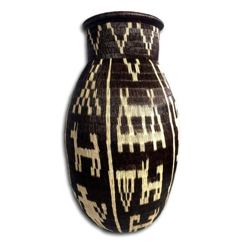 Wounaan Art Vase Basket WLV011 - Indigenous Art - Ethnographic Design