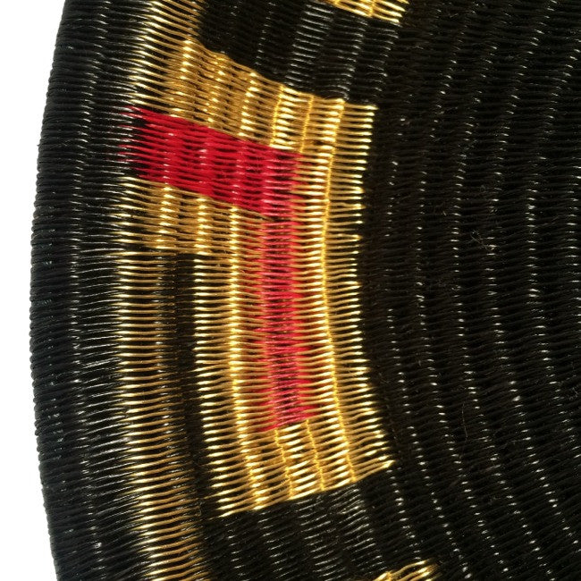 Indigenous Wounaan Art Plate from Colombia. Handmade & Fair Trade. Black & Golden & Red. Chunga Palm basket