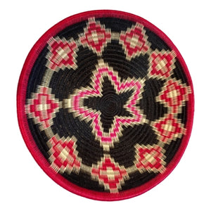 Indigenous Wounaan Art Plate from Colombia. Handmade & Fair Trade. Black & Red & White. Chunga Palm basket