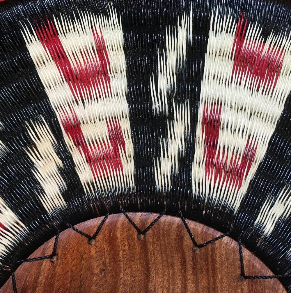 Indigenous Wounaan Art Plate from Colombia. Handmade & Fair Trade. Black & white & Red. Chunga Palm basket