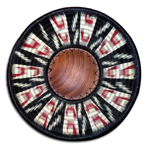 Wounaan Folk Art Plate Basket WP040 - Wood Center - Unique Handmade Gift