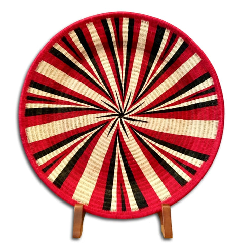#39-Wounaan Folk Art Plate Basket WP044 - Red, White, & Black Star - Unique Handmade Gift
