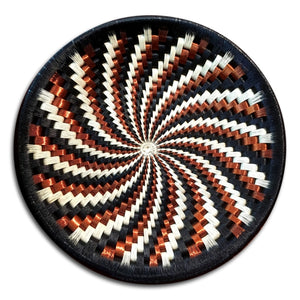 Wounaan Fine Art Plate Basket WP051 - Black, White, Copper Spiral