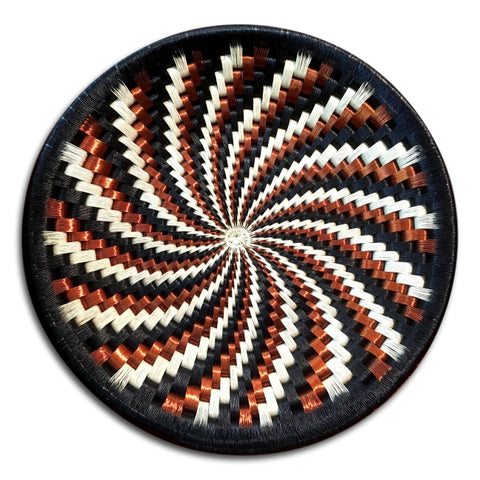 Wounaan Folk Art Plate Basket WP051 - Black, White, Copper Spiral - Unique Handmade Gift