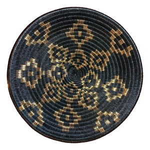 Indigenous Wounaan Art Plate from Colombia. Handmade & Fair Trade. Black & Golden wire. Chunga Palm basket