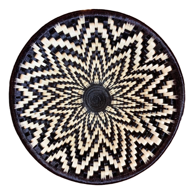 Wounaan plate wall hanging boho chic basket woven handmade fairtrade Colombia
