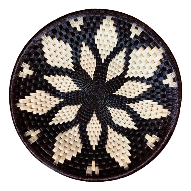 #15-Wounaan Folk Art Plate Basket WP056 - White & Blk Flower - Unique Handmade Gift