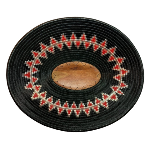 Wounaan Art Plate Basket Oval WP058 - Fair Trade - Indigenous Art - Black, Red, Silver