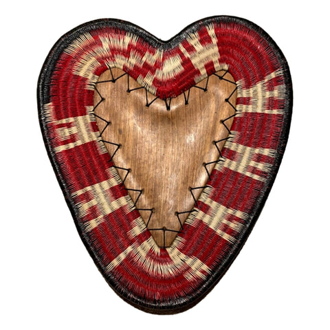 Wounaan Folk Art Plate Basket WP060 - Heart Wood Dish - Unique Handmade Gift