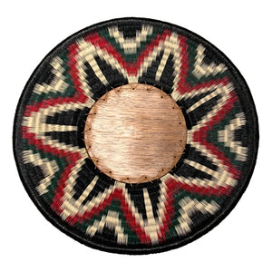 Indigenous Wounaan Art Plate from Colombia. Handmade & Fair Trade. Black & White, Green & Red. Chunga Palm basket