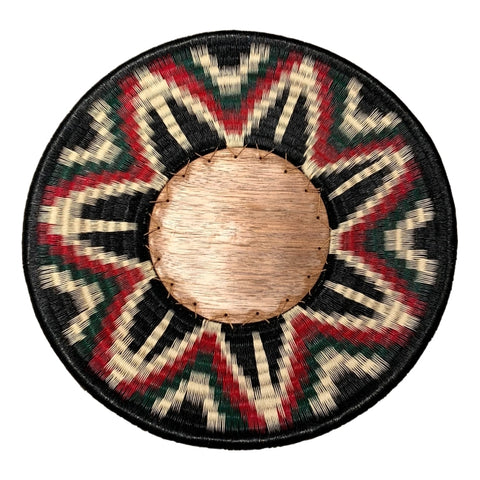 Wounaan Folk Art Plate Basket WP061 - Round Wood Green & Wine Red - Unique Handmade Gift