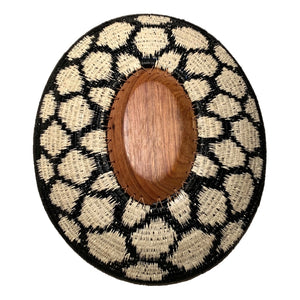 Wounaan Fine Art Plate Basket WP063 - Oval Wood Blk & White - Unique Handmade Gift