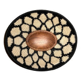 Wounaan Folk Art Plate Basket WP063 - Oval Wood Blk & White - Unique Handmade Gift