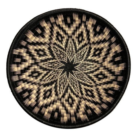 #21-Wounaan Folk Art Plate Basket WP064 - Bowl Star Blk & White - Unique Handmade Gift