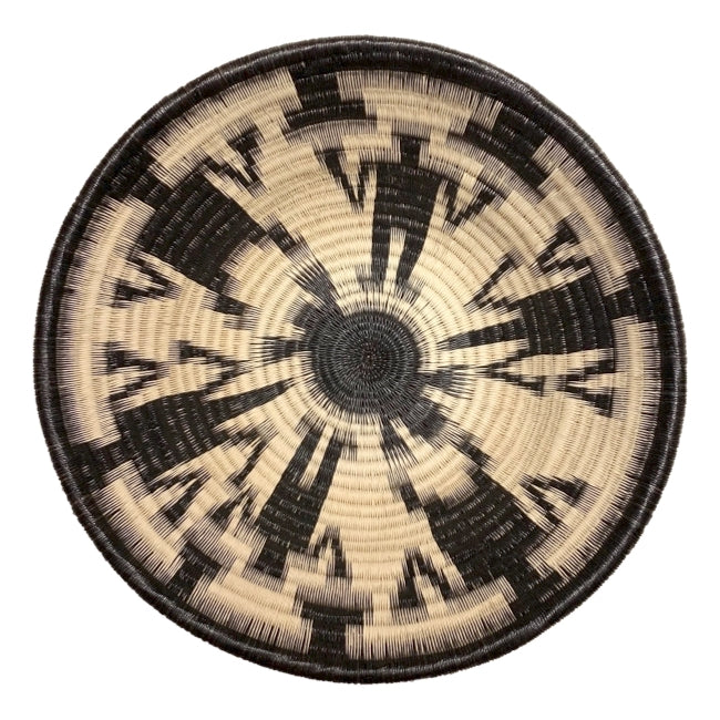 Indigenous Wounaan Art Plate bowl from Colombia. Handmade & Fair Trade. Black & White. Chunga Palm basket