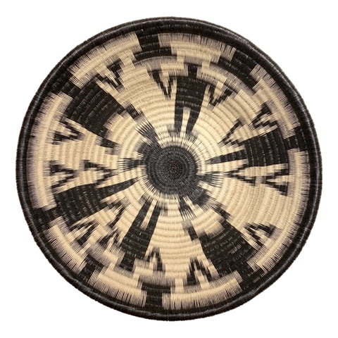 Wounaan Folk Art Plate Basket WP065 - Blk & White Bowl - Unique Handmade Gift