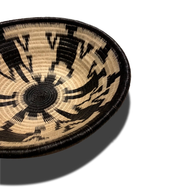 Indigenous Wounaan Art Plate from Colombia. Handmade & Fair Trade. Black & White. Chunga Palm bowl basket