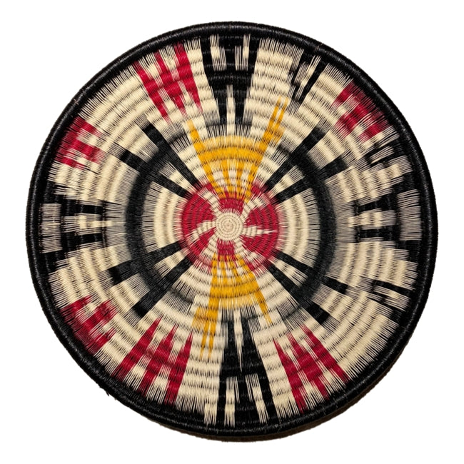 Indigenous Wounaan Art Plate from Colombia. Handmade & Fair Trade. Black & white, yellow, & Red. Chunga Palm basket