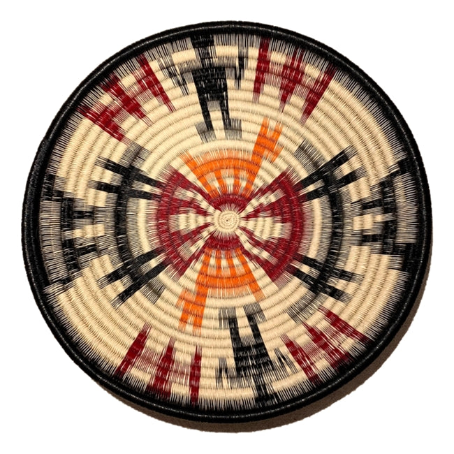 Indigenous Wounaan Art Plate from Colombia. Handmade & Fair Trade. Black, white, orange, Red. Chunga Palm basket