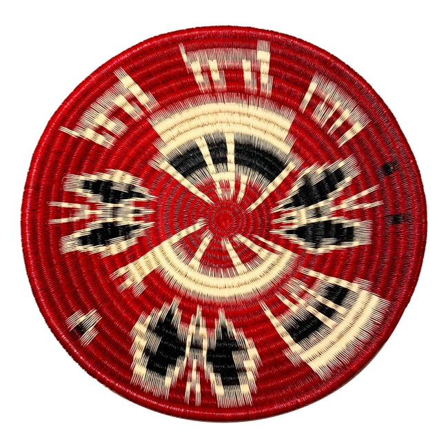 Indigenous Wounaan Art Plate from Colombia. Handmade & Fair Trade. Black, white, Red. Chunga Palm basket