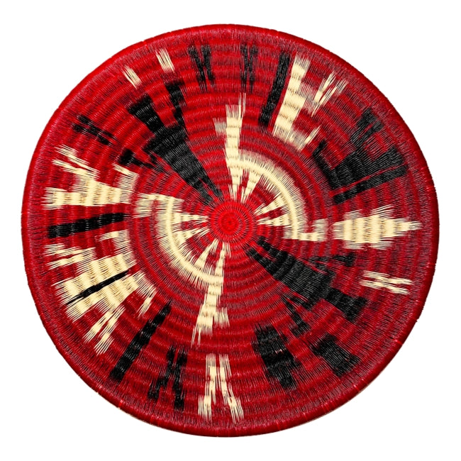 Indigenous Wounaan Art Plate from Colombia. Handmade & Fair Trade. Black white, red. Women weavers. Chunga Palm basket