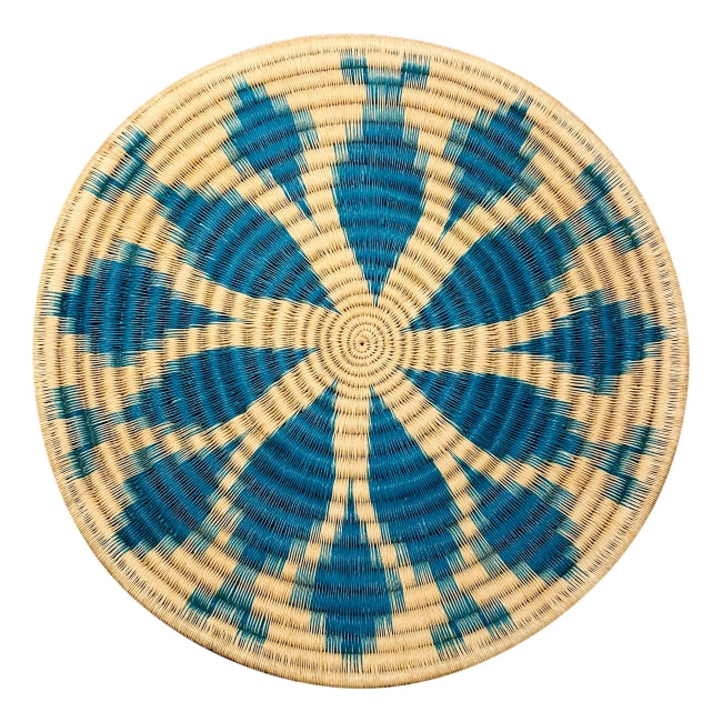Indigenous Wounaan Art Plate from Colombia. Handmade & Fair Trade. White & Blue. Chunga Palm basket